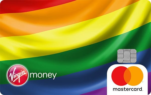Rainbow design of Virgin Money Giving's credit card to benefit Stonewall