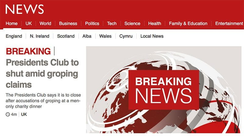 BBC News front page reporting Presidents Club is to close