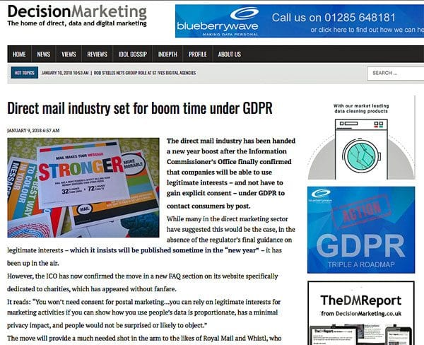 Decision Marketing article (screenshot) on GDPR and direct mail