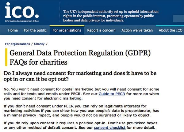 ICO's FAQs on GDPR for charities (screenshot)