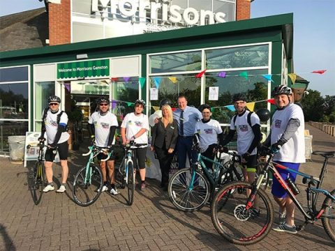Morrisons staff cycling for CLIC Sargent