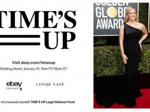 Celebrities donate Golden Globe black dresses for TIME'S UP Legal Defense Fund auction