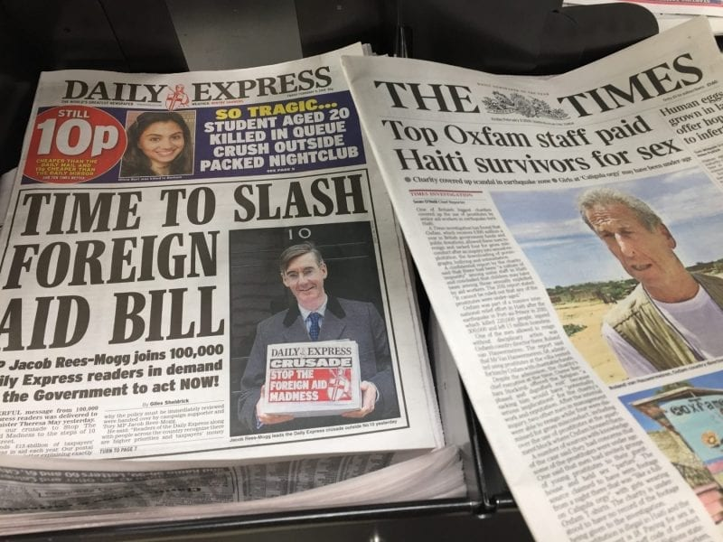 Daily Express and The Times - front pages on 9 February 2018
