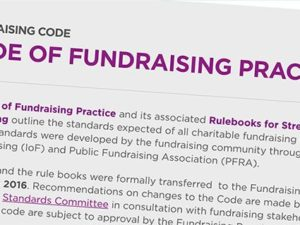 Update to Code of Fundraising Practice to coincide with GDPR implementation