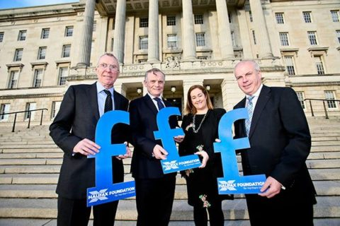 Halifax Foundation for Northern Ireland staff on steps of Stormont