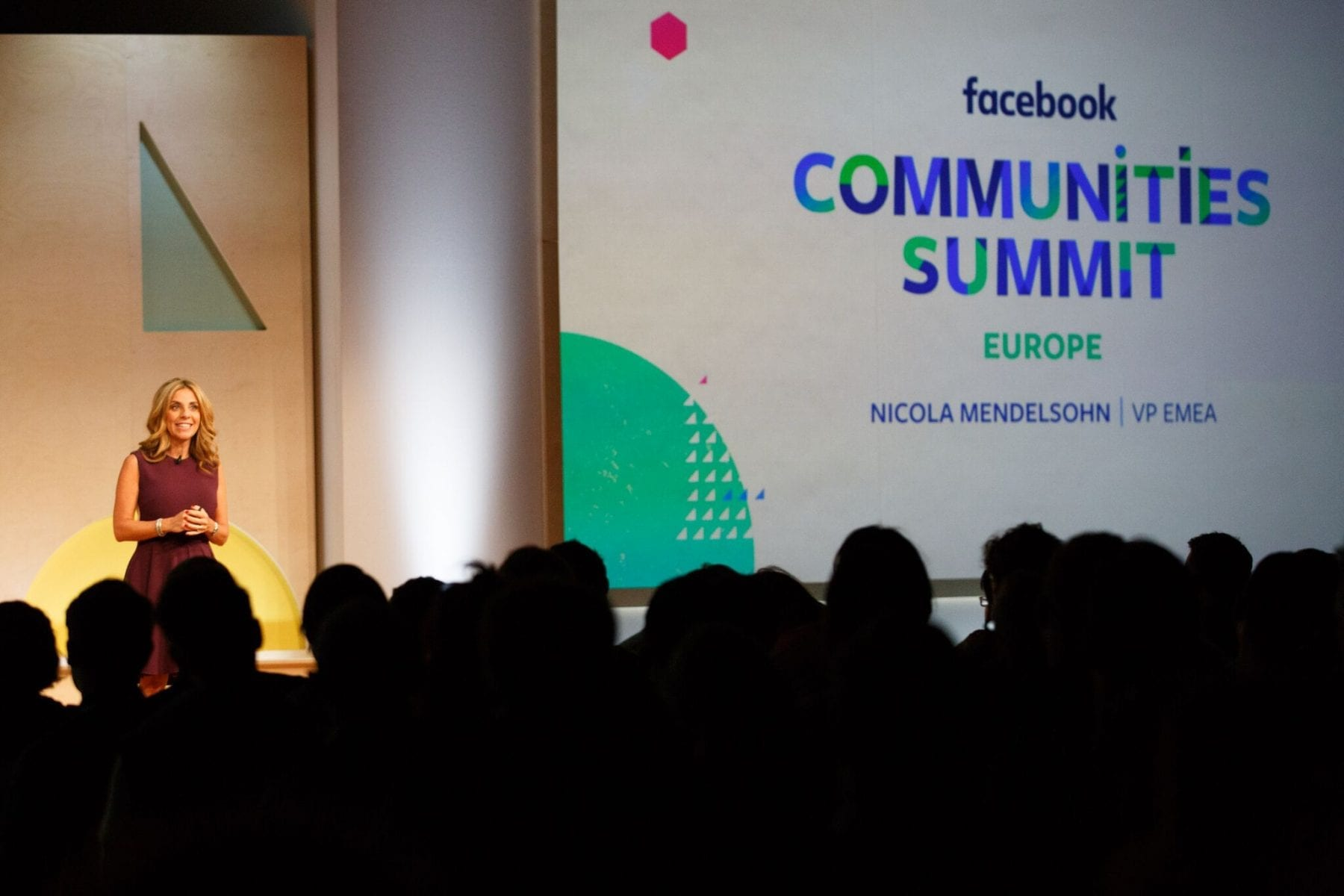 Nicola Mendelsohn, VM EMEA at Facebook, on stage at the Facebook Communities Summit Europe