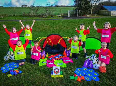 Primary school children with free sports kit