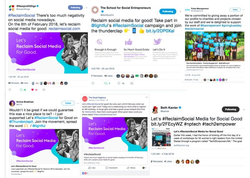 Examples of tweets supporting the #ReclaimSocial campaign