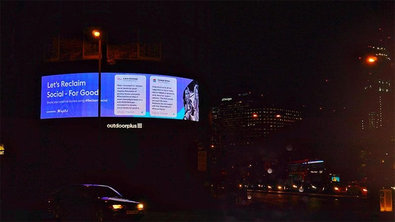 #ReclaimSocial on outdoor advertising board
