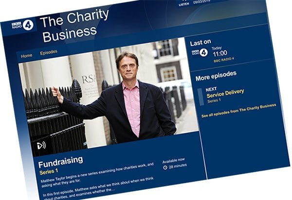 Matthew Taylor programme on BBC Radio 4 about charities and fundraising
