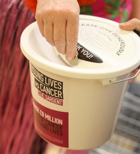 Coin donated in CLIC Sargent collecting bucket