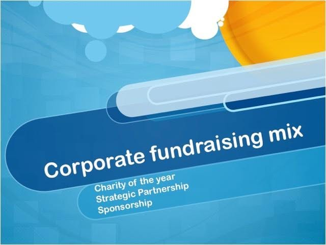 Corporate fundraising mix - from Grahame Darnell slide presentation