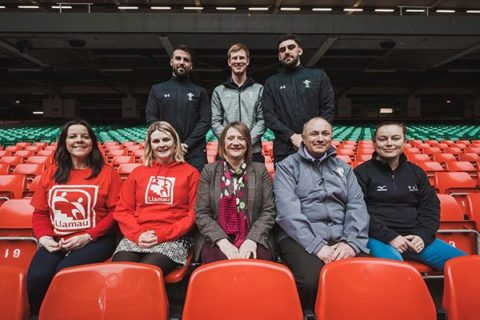 Principality staff and charity representatives in the Principality Stadium, Wales