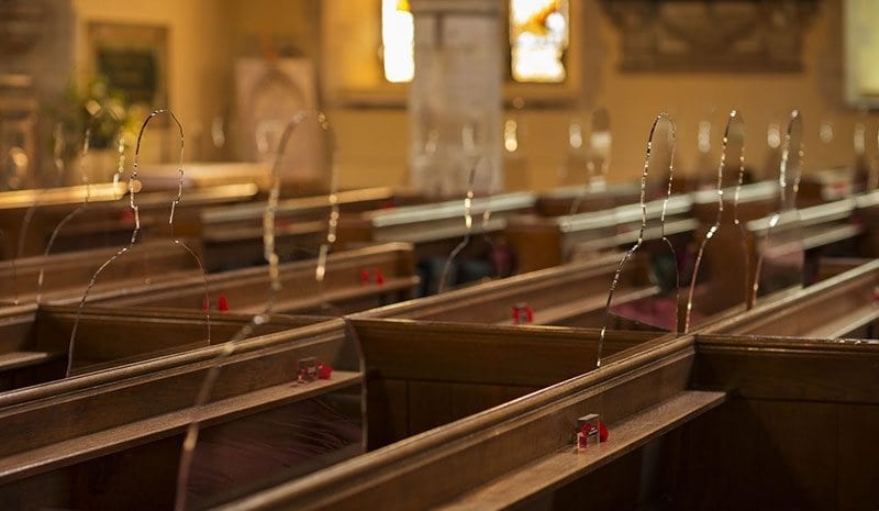 There But Not There silhouettes in church pews