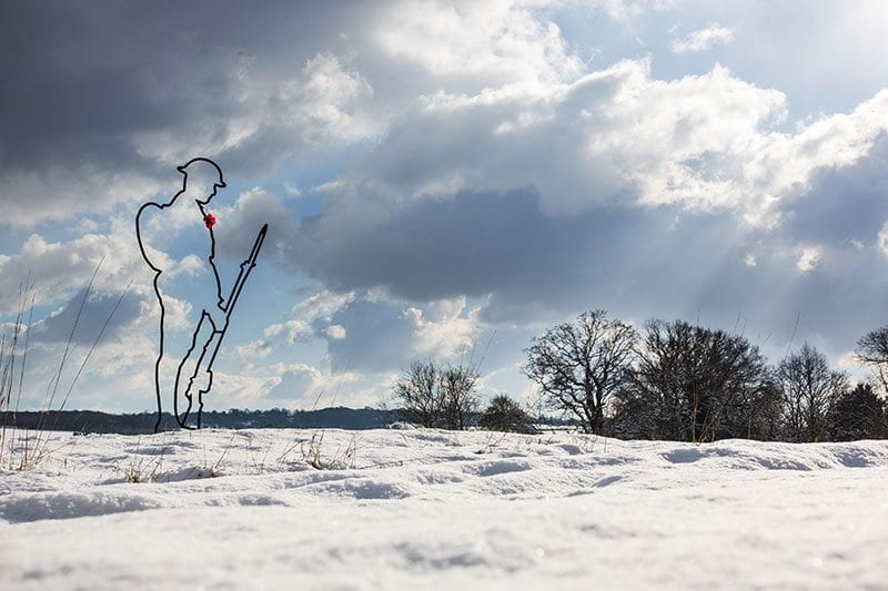 There But Not There silhouette in snowy Kent landscape