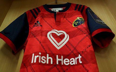 Irish Heart Foundation logo on rugby shirt