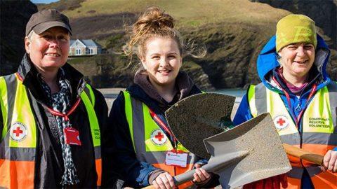 Three British Red Cross volunteers