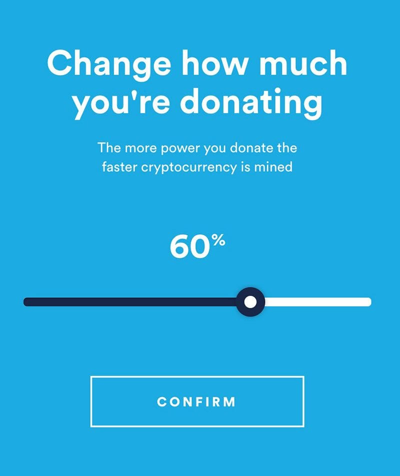 Change how much you're donating (% of processor power)