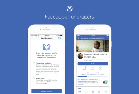 Facebook Fundraisers - two screens
