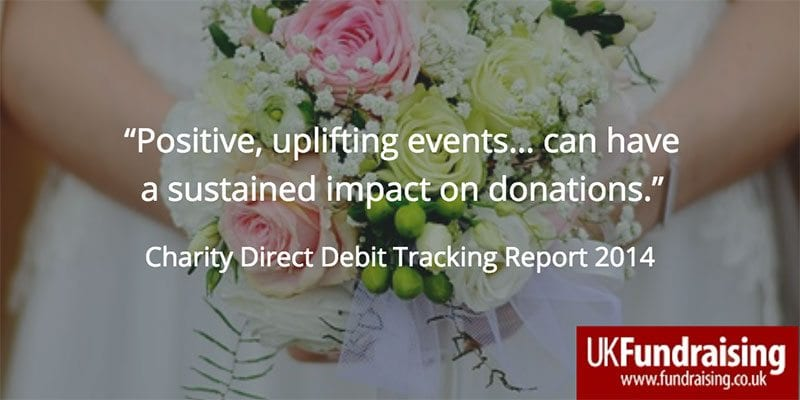 """Quote - """"Positive uplifting events... can have a sustained impact on donations"""""""