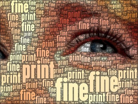 Woman's eye image built from words 'fine' and 'print'