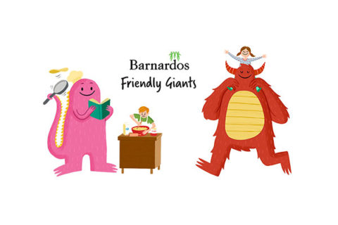 Illustrations from Barnardos' Friendly Giants giving campaign