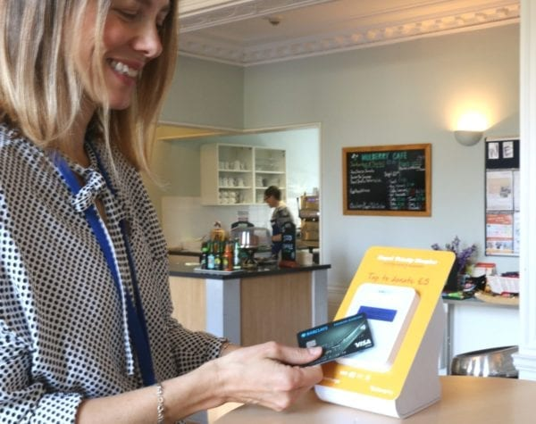 Contactless box in Trinity Hospice cafe