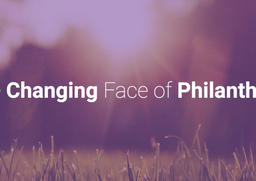 Changing face of philanthropy conference title, against blurred rural backgrop