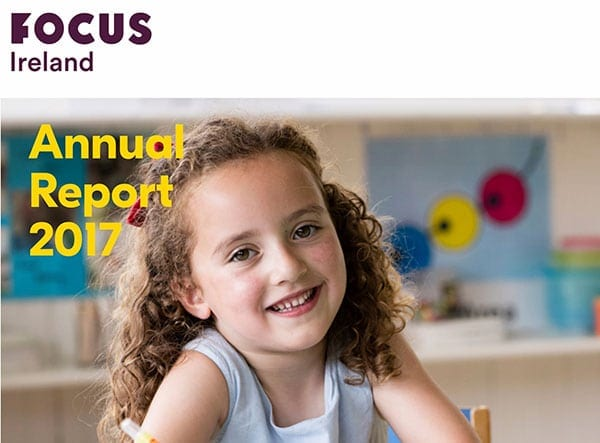 Cover of Focus Ireland 2017 annual report