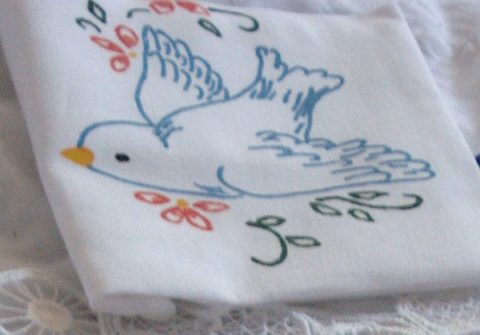 Blue bird (like the Twitter logo) embroidery