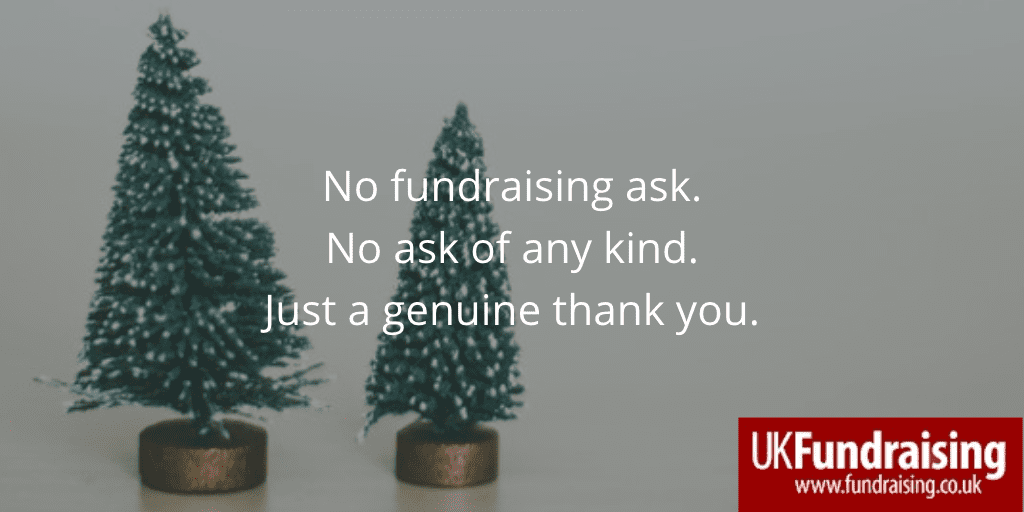 No fundraising ask. Quotation on background of two mini Christmas trees.