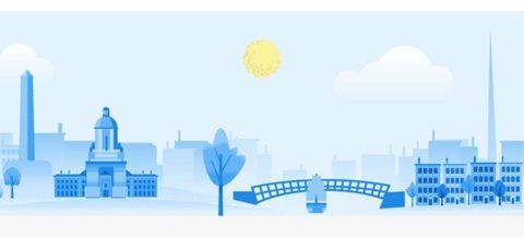 Dublin skyline in Google illustration style - source: Google.org