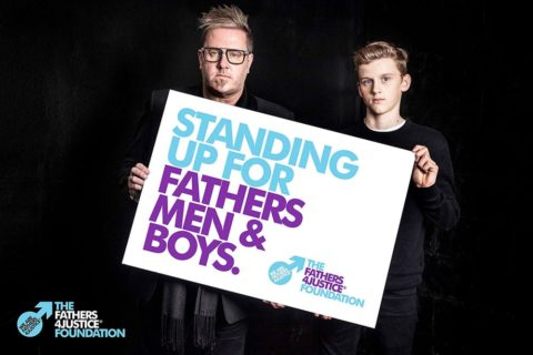 Matt O'Connor and his son Archie at launch of Fathers4Justice Foundation