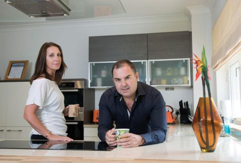 Leanne and Graeme Carling in a kitchen