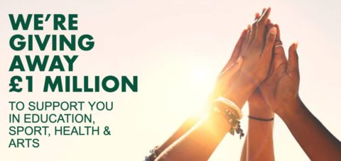 Persimmon Homes Building Futures fund - four hands raised together