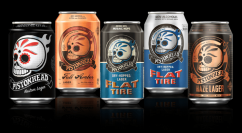 Pistonhead Lager cans