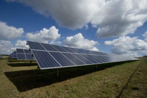 Solar farm panels in a field under blue skies - photo: Unsplash.com