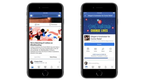 Two Facebook screens showing a fundraising campaign for Red Nose Day 2019 and a splash for the £1m match fund