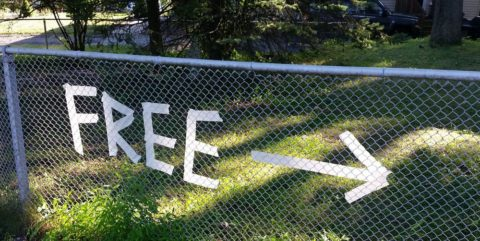 Free sign with arrow pointing to the right, on a park metal fence. Photo: Pixabay