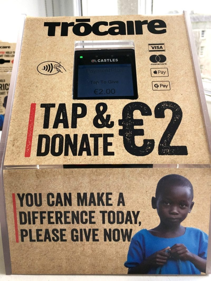 Contactless giving box for Trócaire