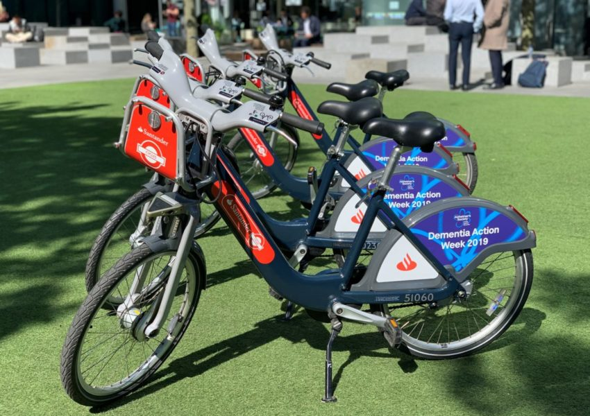 Santander Cycles with Alzheimer's Society branding for Dementia Action Week 2019