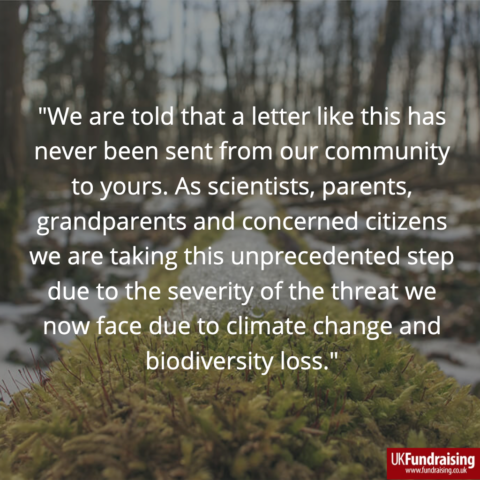 Quote from UK scientists' open letter to funders on need to support climate action