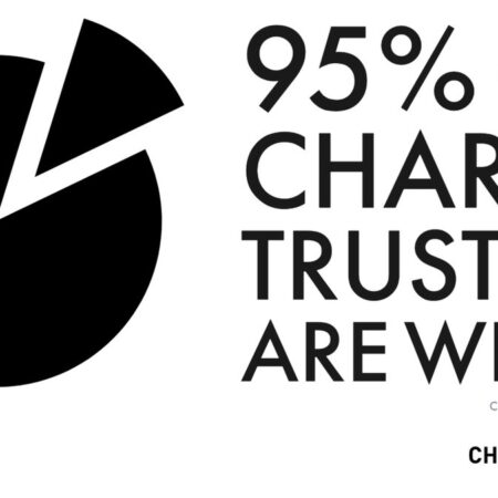 Pie chart - 95% of charity trustees are white - image: charity so white
