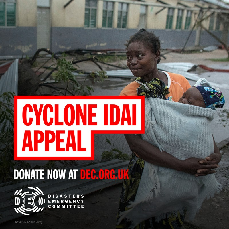 Advert promoting the DEC Cyclone Idai appeal - photo: CARE/Josh Estey