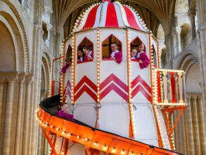 Helter skelter invites people to take a different view at Norwich Cathedral