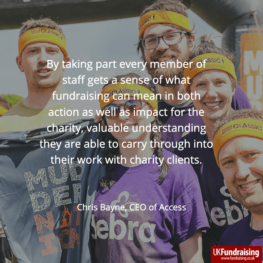 Chris Bayne, Access CEO, quote about fundraising for DEBRA