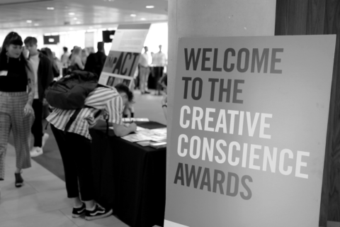 Sign welcoming guests to the Creative Conscience Awards