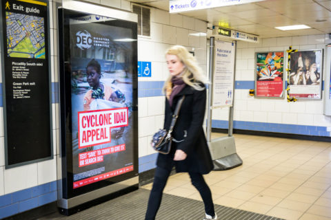 Digital posters on the London Underground promote the DEC's Cyclone Idai appeal