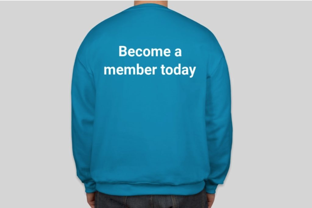 Become a member today - branded jacket from the rear
