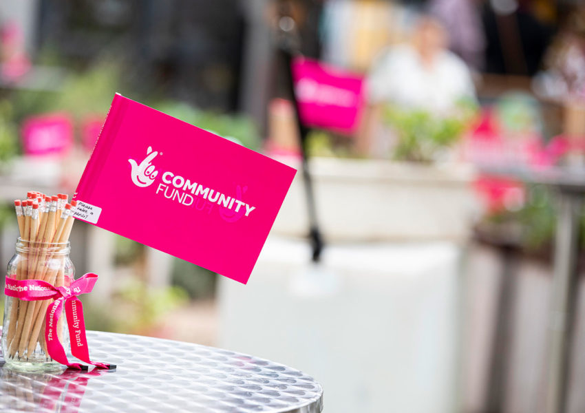 National Lottery Community Fund logo on pink flags in a garden